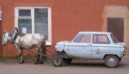 coche con un caballo, bueno tiradopor un burro