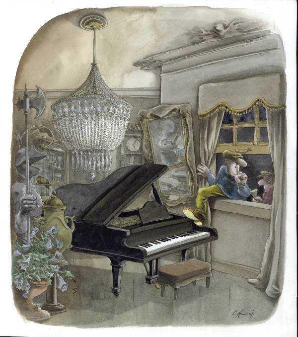 ladrón que entra por la ventana justo donde esta el piano