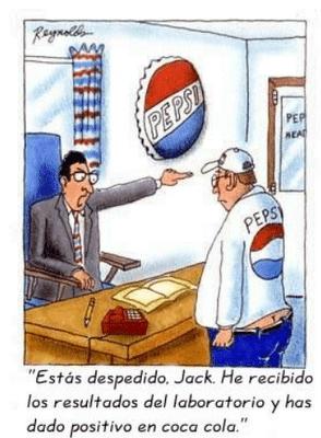 imagenes graciosas en tiras de humor un trabajador de pepsi ha bebido coca.-cola