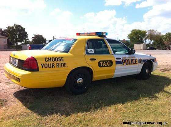 coche mitad delantera policia, mitad trasera taxi