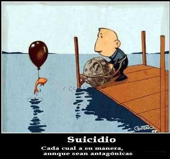 un pez sale del agua con glob al cuello, mientras hombre se va tirar con piedra atada