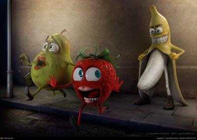 tres frutas en unas fotos graciosas