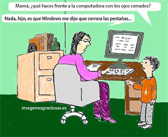 chiste con imagenes graciosas sobre una mujer y la computadora