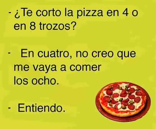 chiste corto con ina imagen graciosas sobre pizza