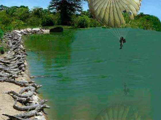 paracaidista cayendo a un lago repleto de cocodrilos
